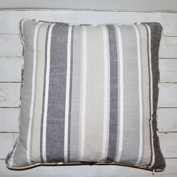 Astounding Dkny Gray Beige Striped Throw Pillow 18X18 Gmtry Best Dining Table And Chair Ideas Images Gmtryco